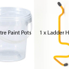 Paint pots and ladder handy